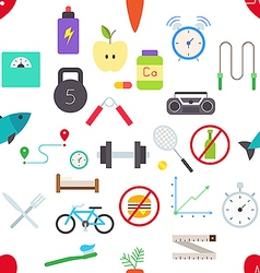 Healthy lifestyle pattern stickers vector image vector image