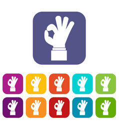 ok gesture icons set vector image