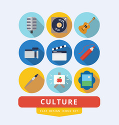 set of icons related to culture painting music vector image