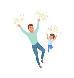 smiling dad and son happily jumping loving father vector image