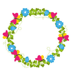 spring wreath with flowers and butterflies vector image vector image