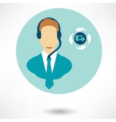 customer service operator with headset and speech vector image