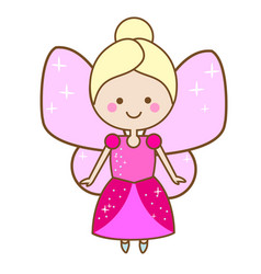 cute fairy character winged elf princess in pink vector image