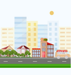 fast food buildings street view background vector image vector image