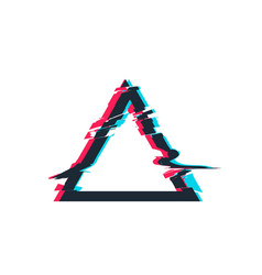 glitch distortion frame triangle vector image vector image