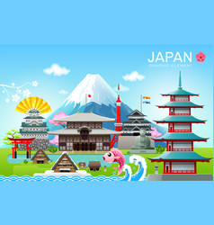 Japan landmark travel object vector