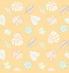 Seamless tropical palm leaves pattern vector