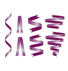 Shiny purple ribbon on white background vector image vector image