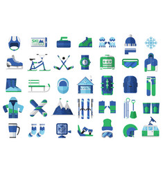 winter sports and activity icons vector image vector image