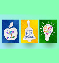 Back to school - set of greeting banners vector