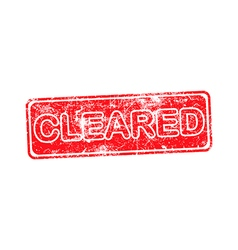 Cleared red grunge rubber stamp vector