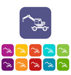 crane truck icons set flat vector image