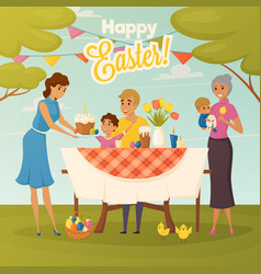 family easter dinner flat poster vector image vector image