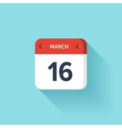 March 16 Isometric Calendar Icon With Shadow vector image vector image