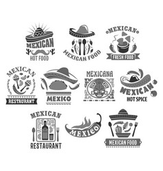 Mexican cuisine icons for restaurant vector