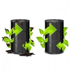 oil barrels with arrow vector image vector image