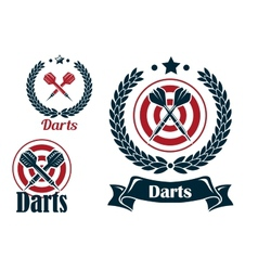 Three different darts emblems or badges vector image