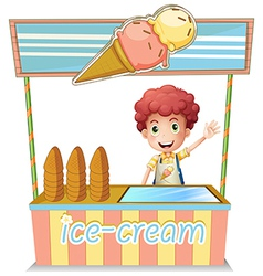 A boy selling ice cream vector image vector image