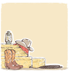 cowboy background with western boots and west hat vector image vector image