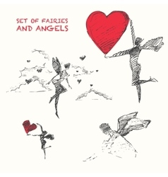 Drawn set flying fairiy angel heart sketch vector