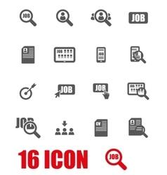 grey job search icon set vector image
