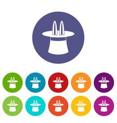 magic hat set icons vector image