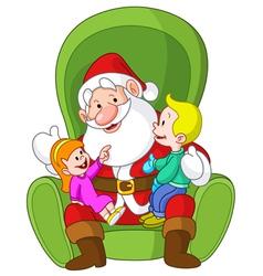 santa with kids vector image