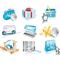 shopping and consumerism icon set vector image vector image