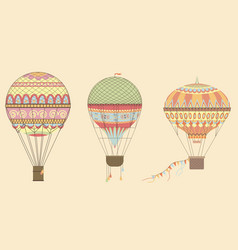 vintage hot air balloons in sky vector image vector image