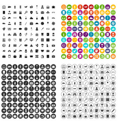 100 case icons set variant vector