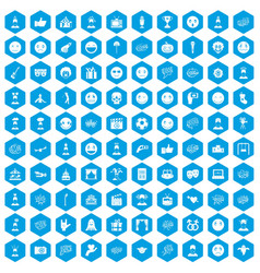 100 emotion icons set blue vector image
