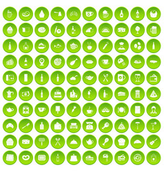 100 restaurant icons set green vector