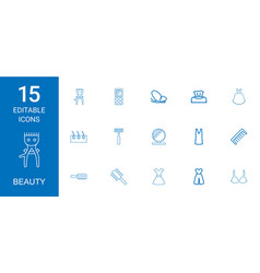 15 beauty icons vector