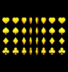 3d golden symbols poker cards animation vector