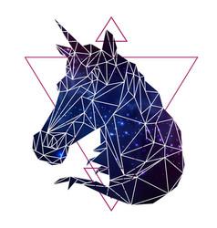 Abstract polygonal fantasy animal unicorn vector