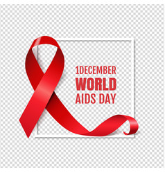 Aids day symbol red ribbon transparent background vector