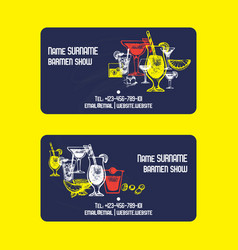 alcoholic celebration drinks business card vector image