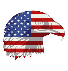 American flag in eagle head vector