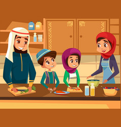 Arab family cooking together at kitchen vector