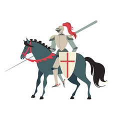 Armoured medieval knight riding on a horse with vector