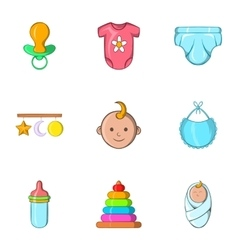 Baby supplies icons set cartoon style vector