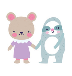 bashower cute little bear and sloth cartoon vector image
