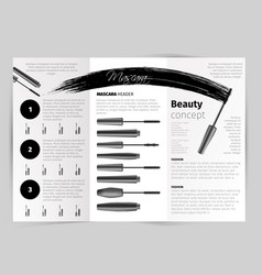 booklet with realistic mascara objects vector image