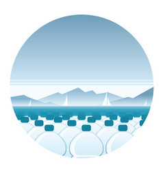 Bottled water sea round icon vector