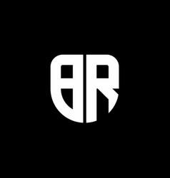 br logo monogram with circular shape shield vector image