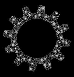 Bright mesh carcass cogwheel with light spots vector