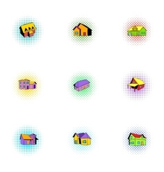 Building icons set pop-art style vector image
