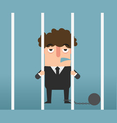 Businessman hand holding metal bars in jail vector