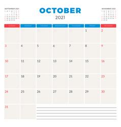 Calendar planner for october 2021 week starts on vector