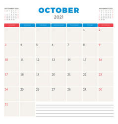 Calendar planner for october 2021 week starts vector